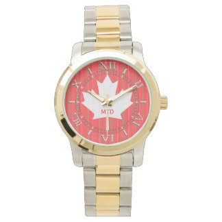 Monogram Knit Style Red Maple Leaf Knitting Motif Wrist Watch