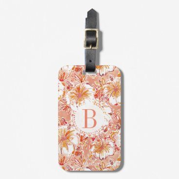 Beach Themed Monogram KOMBUCHA-CHA Peach Tropical Hibiscus Bag Tag
