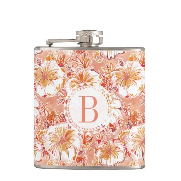 Beach Themed Monogram KOMBUCHA-CHA Peach Tropical Hibiscus Hip Flask