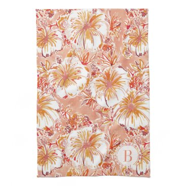 Beach Themed Monogram KOMBUCHA-CHA Peach Tropical Hibiscus Kitchen Towel