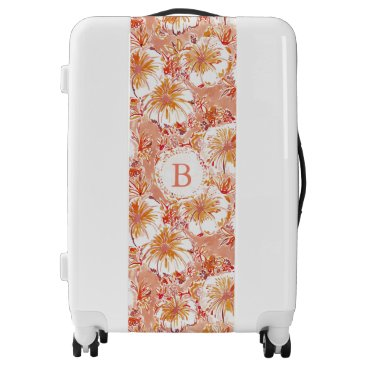 Beach Themed Monogram KOMBUCHA-CHA Peach Tropical Hibiscus Luggage