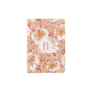 Beach Themed Monogram KOMBUCHA-CHA Peach Tropical Hibiscus Passport Holder