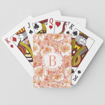 Beach Themed Monogram KOMBUCHA-CHA Peach Tropical Hibiscus Playing Cards