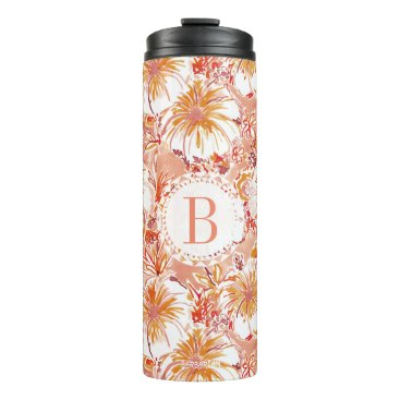 Beach Themed Monogram KOMBUCHA-CHA Peach Tropical Hibiscus Thermal Tumbler
