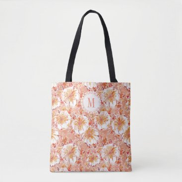 Beach Themed Monogram KOMBUCHA-CHA Peach Tropical Hibiscus Tote Bag