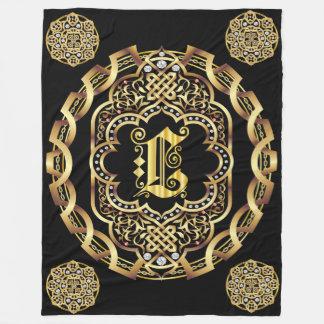 Monogram L CUSTOMIZE To Change Background Color Fleece Blanket
