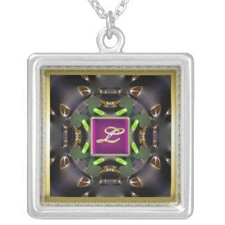 Monogram L-Multi Col Silver Plated Square Necklace