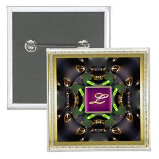 Monogram L-Multi Color 2-inch Square Button