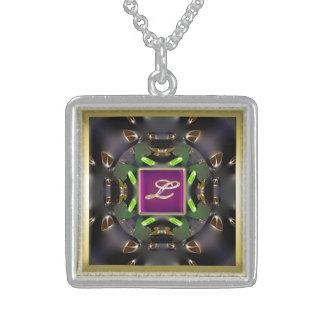 Monogram L-Multi  Sterling Silver Square Necklace