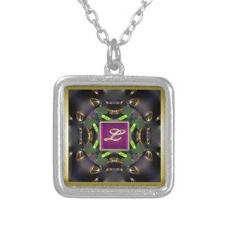 Monogram L-MultSmall Silver Plated Square Necklace
