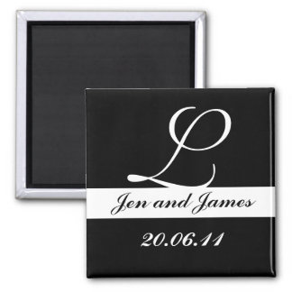 Monogram L Wedding Black & White Save the Date Fridge Magnet
