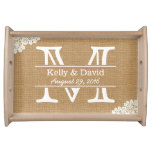 Monogram Lace & Burlap Rustic Wedding Serving Tray