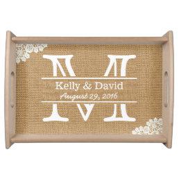 Monogram Lace & Burlap Rustic Wedding Serving Tray