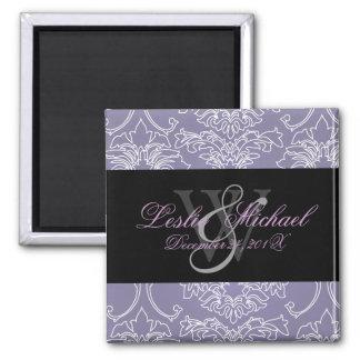 Monogram Lace Damask Wedding, Magnets