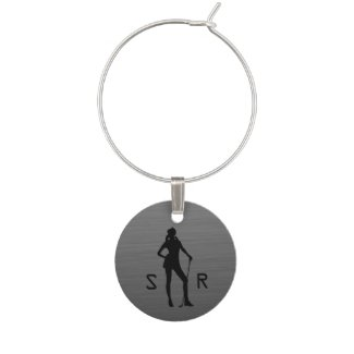 Monogram Lady Golf Silver Wine Tag Wine Charms