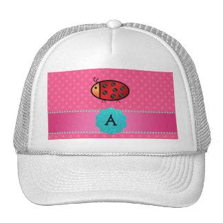 Monogram ladybug pink polka dots hats
