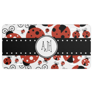 Monogram - Ladybugs, Ladybirds, Lady Beetles - Red License Plate