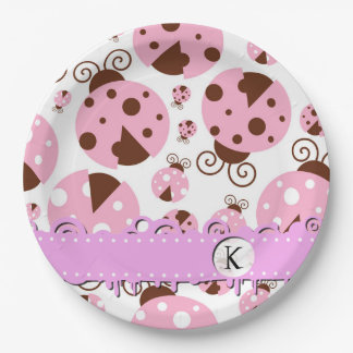 Monogram - Ladybugs, Ladybirds - Pink Brown Paper Plate