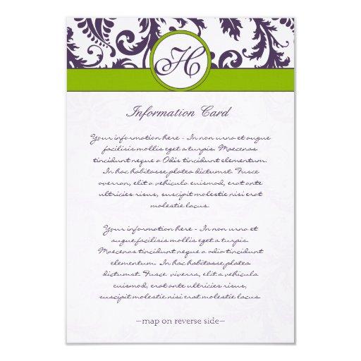 "Monogram Lapis Purple Damask Information Card 3.5"" X 5"" Invitation Card"
