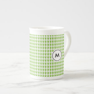 Monogram Latte Mugs | Green Houndstooth