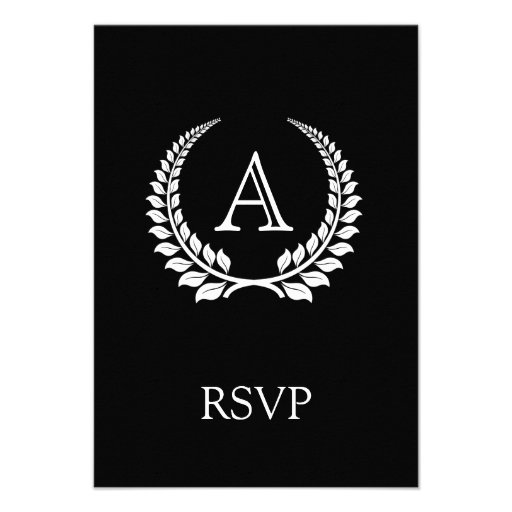 Monogram Laurel Black/White Custom Announcement