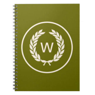 Monogram Laurel Leaf Wreath Notebook