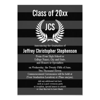 Monogram Laurel Masculine Black Graduation Card