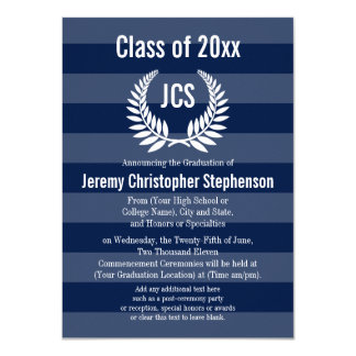 Monogram Laurel Masculine Blue Graduation Card