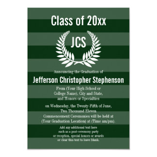 Monogram Laurel Masculine Green Graduation Card