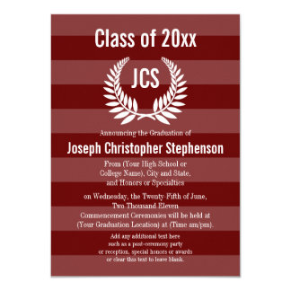 Monogram Laurel Masculine Red Maroon Graduation Card