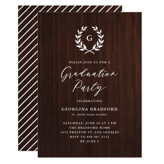 Monogram laurel wreath rustic wood graduation invitation zazzle monogram laurel wreath rustic wood graduation invitation filmwisefo
