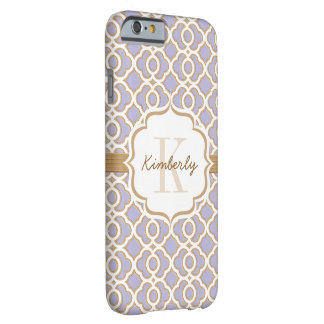 Monogram Lavender and Gold Quatrefoil Barely There iPhone 6 Case