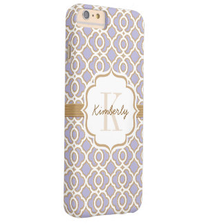 Monogram Lavender and Gold Quatrefoil Barely There iPhone 6 Plus Case