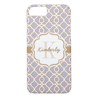 Monogram Lavender and Gold Quatrefoil iPhone 7 Case