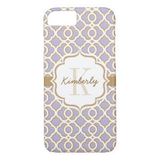 Monogram Lavender and Gold Quatrefoil iPhone 8/7 Case