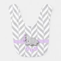 Monogram Lavender And White Chevron Baby Elephant Baby Bib