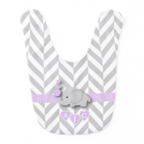 Monogram Lavender And White Chevron Baby Elephant Baby Bib