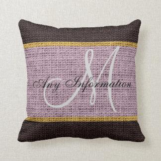 Monogram Lavender & Brown Rustic Burlap Jute Throw Pillow