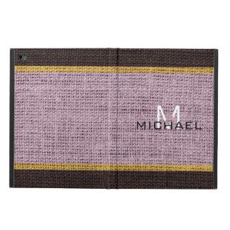 Monogram Lavender Burlap Linen Rustic Jute Powis iPad Air 2 Case
