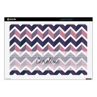 """Monogram Lavender Purple White Geo Chevron Pattern 17"""" Laptop Decals"""