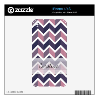 Monogram Lavender Purple White Geo Chevron Pattern Decals For The iPhone 4S