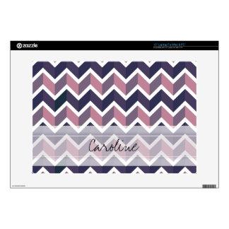 Monogram Lavender Purple White Geo Chevron Pattern Laptop Decals