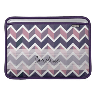 Monogram Lavender Purple White Geo Chevron Pattern MacBook Air Sleeve