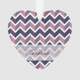 Monogram Lavender Purple White Geo Chevron Pattern Ornament