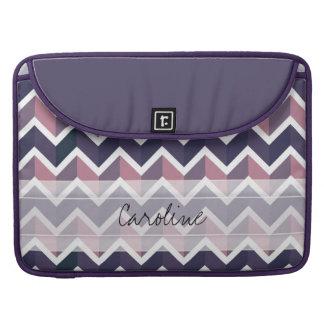 Monogram Lavender Purple White Geo Chevron Pattern Sleeve For MacBook Pro