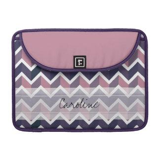 Monogram Lavender Purple White Geo Chevron Pattern Sleeve For MacBooks