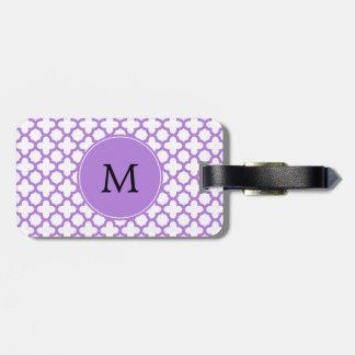 Monogram Lavender Quatrefoil Pattern Bag Tag