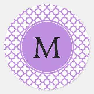 Monogram Lavender Quatrefoil Pattern Classic Round Sticker