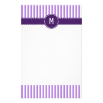 Monogram Lavender Striped Pattern Stationery