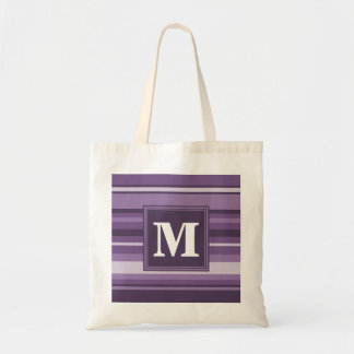 Monogram Lavender stripes Tote Bag